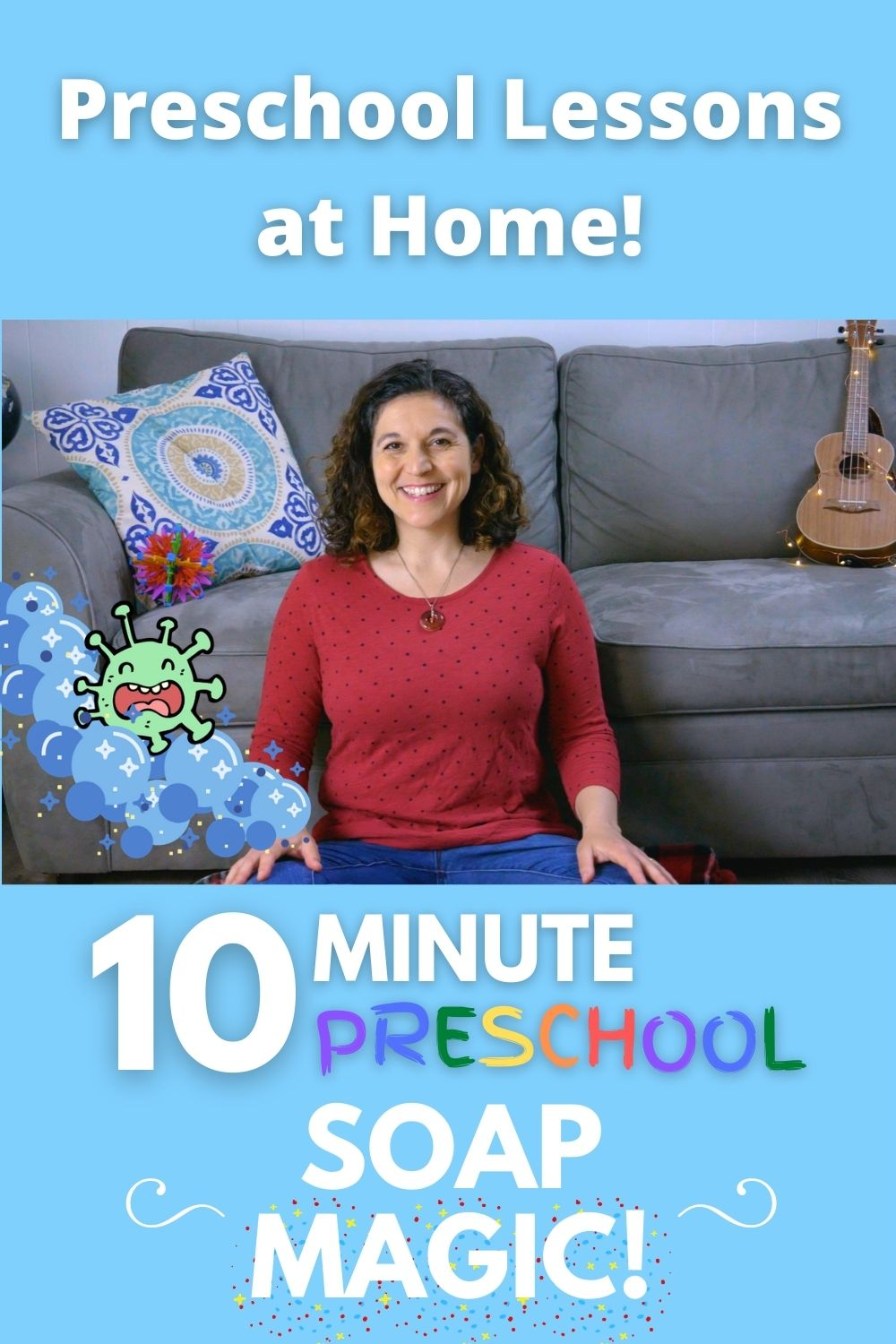 Bring preschool home to your child as Mrs. S teaches kids how to wash hands and leads them in a colorful soap activity, PLUS how to make your own play-dough soap!  #preschool #preschoolactivities #toddler #toddlerscience #preschoolactivities #learnathome #earlyeducation #preschoolers #washhands #howtowashhands #learntowashhands #soap #preschoolart #preschoolsongs